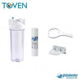 """Kit filtro caldaia Globalwater: contenitore da 10"""" con filtro in spugna per sedimenti e set montaggio"""